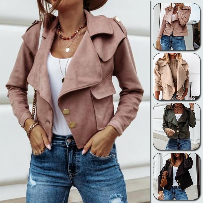 Casacos femininos outono mulheres lapela jaqueta slim manga longa sólida girar colarinho senhoras casaco de estilo curto único-breasted outerwear casual t