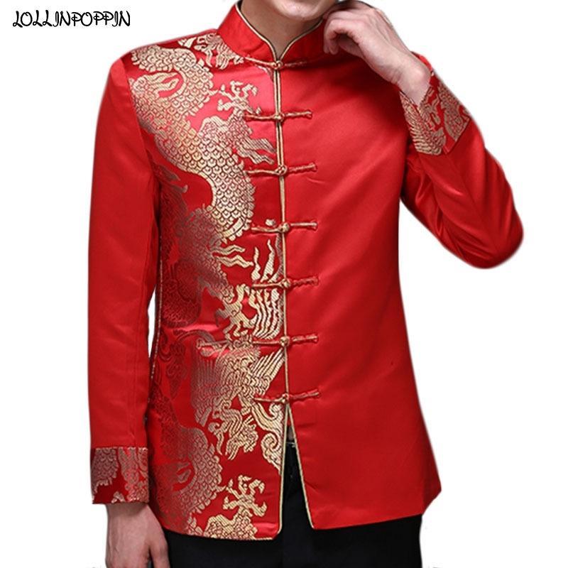 Ejderha Desen Jakarlı Erkek Kırmızı Takım Elbise Ceket Mandarin Yaka Geleneksel Çin Erkekler Saten Düğün Ceket Kurbağa Kapatma 201105