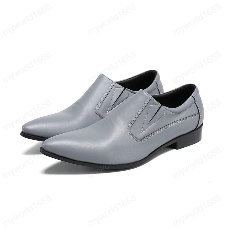 Мужчины вечеринки натуральные кожаные туфли заостренные носки свадебные мужские платья обувь плюс размер бизнес формальные туфли