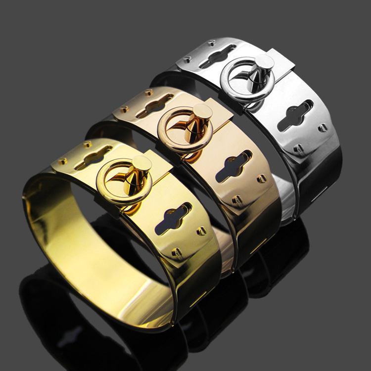 Europa américa moda mulheres senhora titânio aço h letter círculo quatro unhas 18k banhado a ouro grande pulseira pulseira 3 cor