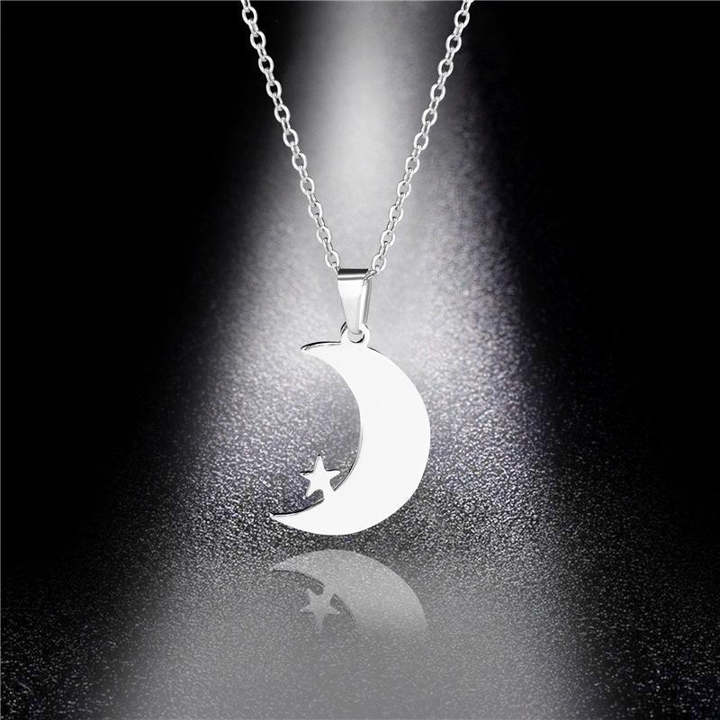 Японский Simple Good Night ожерелье Moon Star Long Xingyue Подвеска титана стали ключицы свитер ожерелье Дешевая распродажа