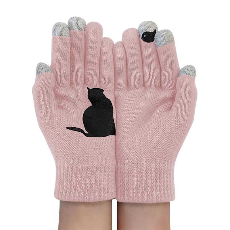 Men's Gloves Winter Women Full Finger Mittens Ladies Woolen Gloves Outdoor Warm Dog Bones Printing Streetwear