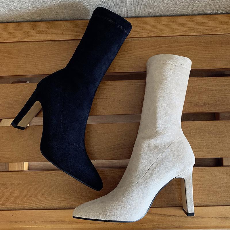 Europe et États-Unis Nouveau style pour l'automne et l'hiver daim Chunky-talon Bottes Fang Gen Tube Taux haute Talons pointues Boots1