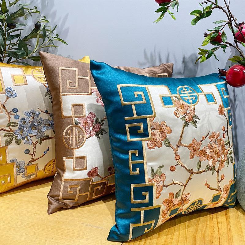 Cubiertas de cojín bordadas florales Casas de almohadas de cintura de café amarillo chino de alto grado Casas de almohadas de la decoración de la decoración del sofá