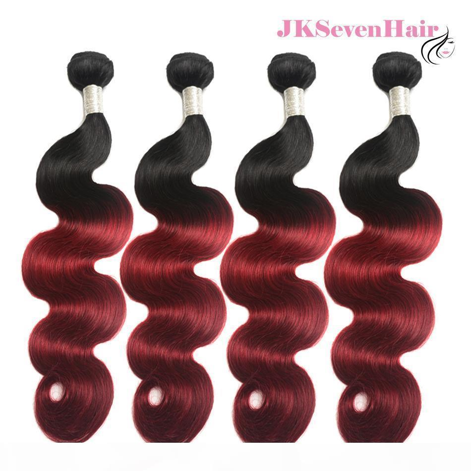 Two Tone Ombre Burgundy Body Wave Brazilian Hair Bundles 4pcs With 13x4 Inch Frontal 1B Burgundy Malaysian Peruvian Hair Wefts W Frontal