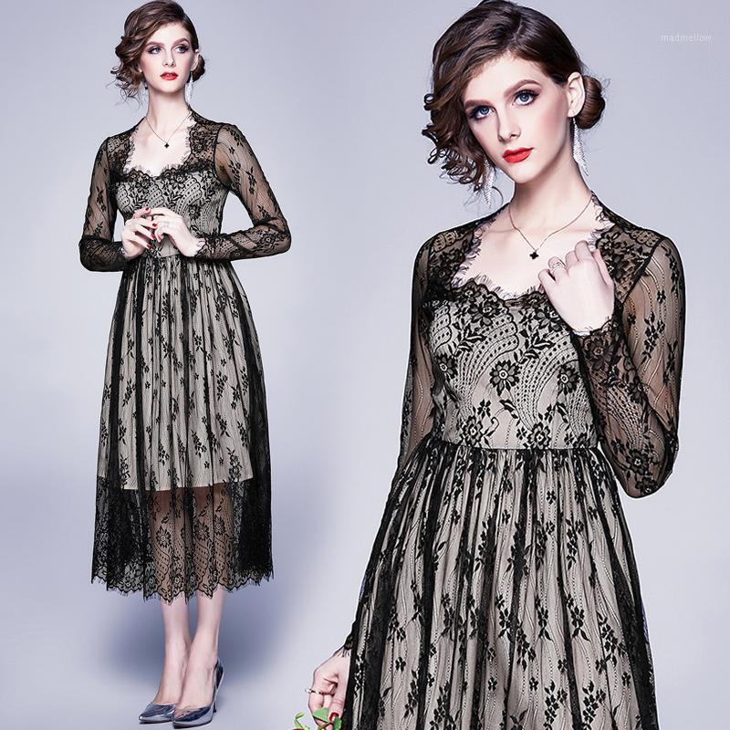Vestidos casuales mujeres otoño oficina elegante encaje vestido negro sexy femenino de alta calidad vintage diseñador vestidos fiesta un-line tobate lady1
