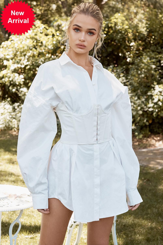 Casa de algodão preto Underbust espartilho branco cintura cintura camisa mini senhora camisa de vestido + cintura 2 partes conjunto