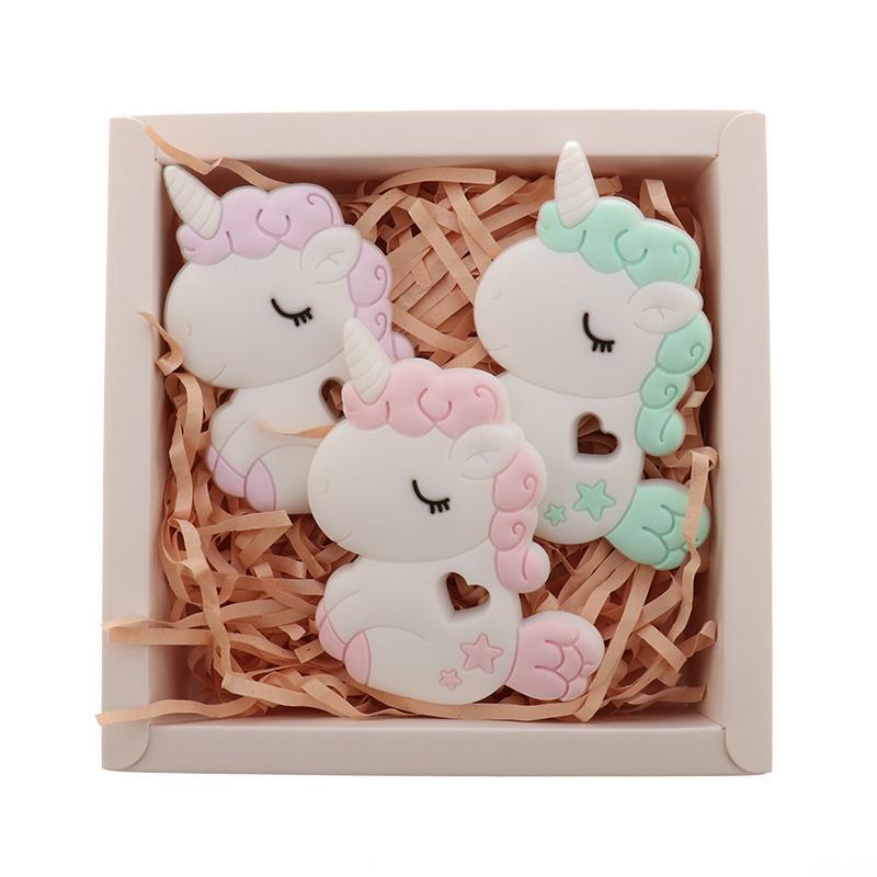 QHBC unicórnio 5 pcs silicone roedor bebê téether cavalo BPA livre infantil infantil dente pingente materiais de enfermagem de alimentos animais diy 201124