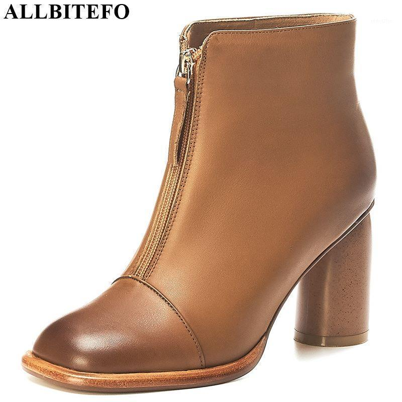 Boots Allbitefo Metal ZIP Натуральная кожа Квадратный Носок Сексуальные Высокие каблуки Женщины Каблук Обувь Лодыжка для Женщин1