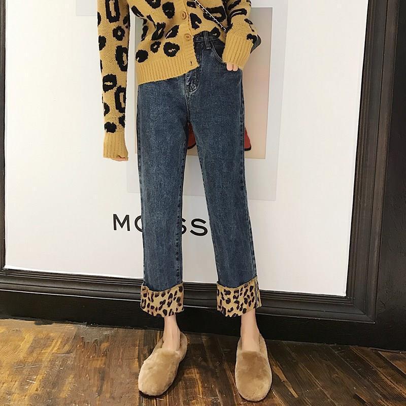 LeoPard Printout Кулаки прямые Женские джинсы старинные уличные одежды Джинсовая лодыжка Длина мешковата плюс размер брюки Femme