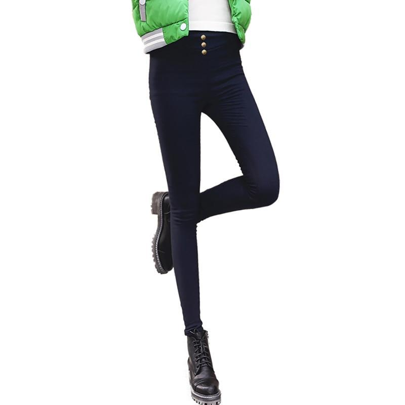 Plus Épaississement de velours Pantalon Crayon Dames High Taille Pantalons Pantalons Automne et hiver Jambières Y4