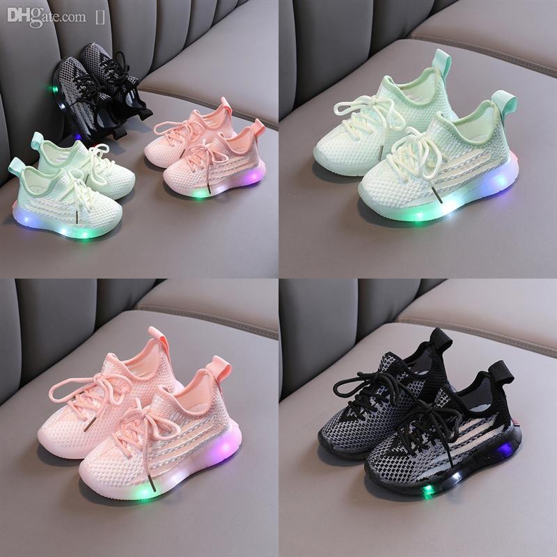 Çocuk Çocuklar Çocuk Erkek Işık Flats Katı Rahat LED Ayakkabı Kızlar Ayakkabı Öğrenci Çocuk Kayma Nefes Nefes Basketbol Ayakkabı Giyim