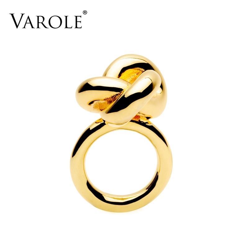 Varole Fashion Infinity Knotting anillo diseño oro color midi anillos para mujeres joyería anel feminino 201218