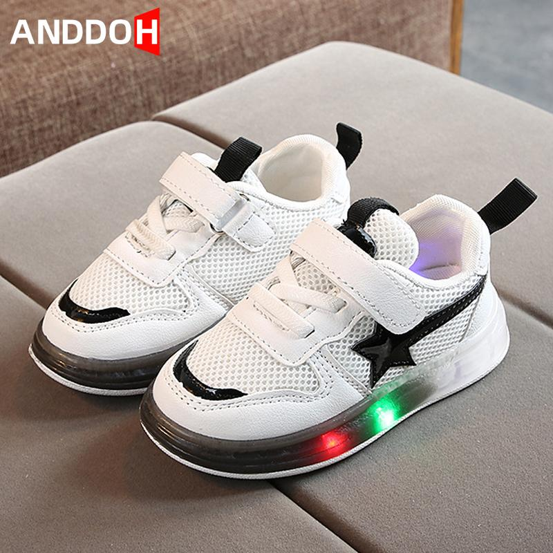 Size 21-30 Baby Led Light Up Shoes Girls Breathable Luminous Sneakers Boy Wear-resistant Glowing Shoes Children Damping Sneakers J1208