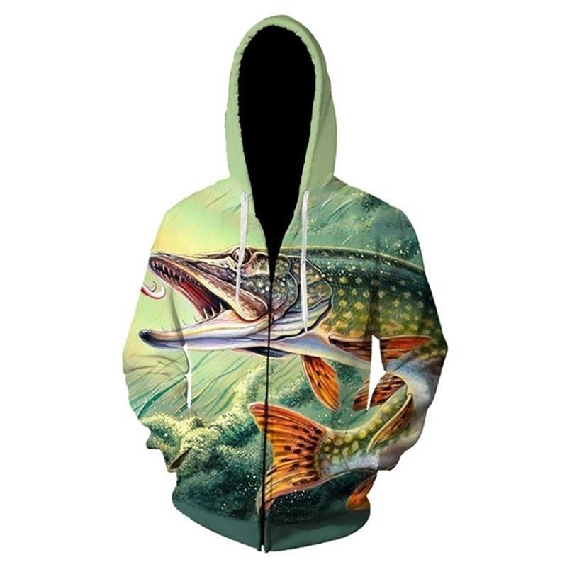 3D peixes tropicais engraçado zíper hoodies para pescador homens mulheres manga comprida moletom moletom com capuz streetwear casacos hip hop y201123