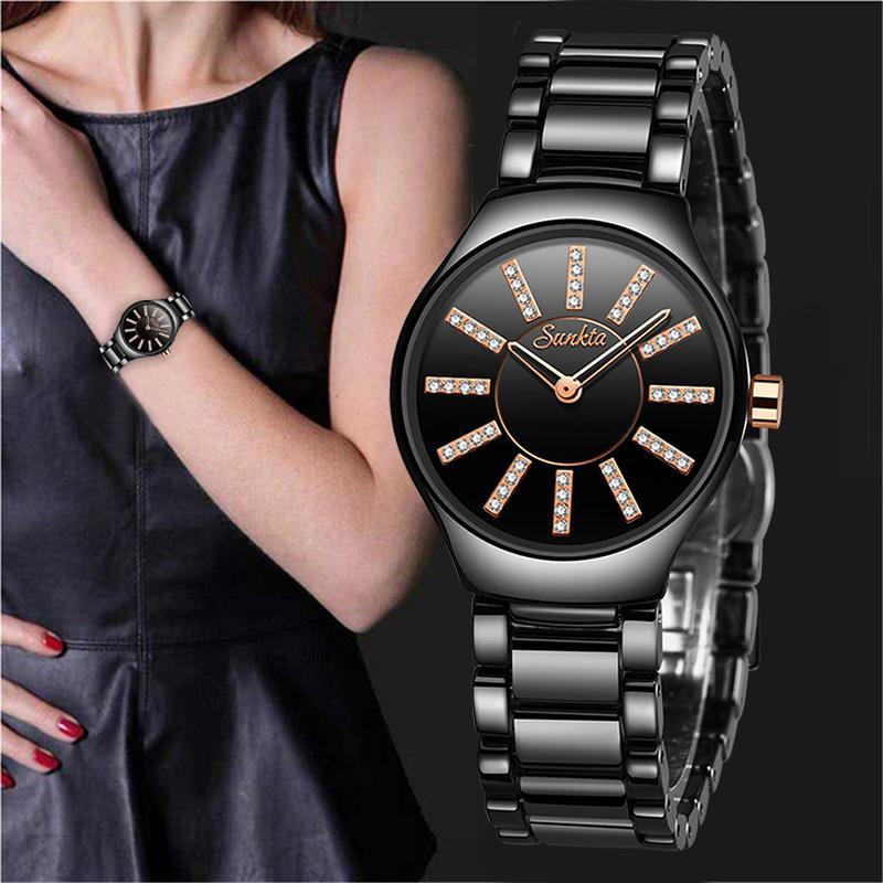 Sunkta top relógio de luxo mulheres relógios senhoras mulheres criativas pulseira cerâmica relógios relógio feminino relogio feminino montre femme j1205