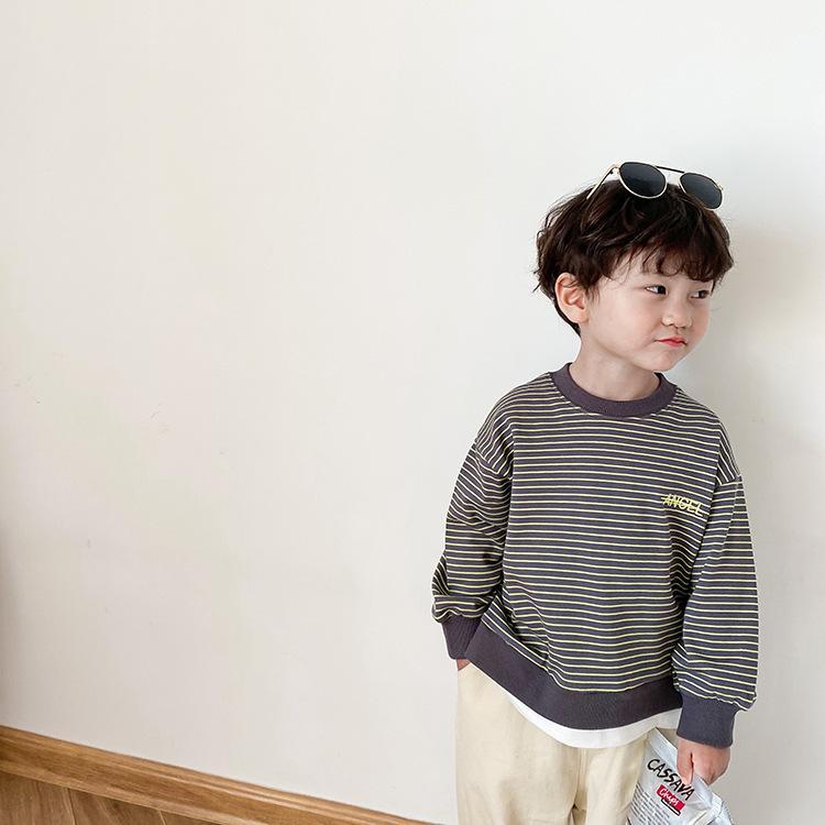 İlkbahar Sonbahar Moda Erkek Mektuplar Nakış Çizgili Uzun Kollu Tişörtü Çocuklar Pamuk Rahat Gevşek Patchwork Kazaklar 201216