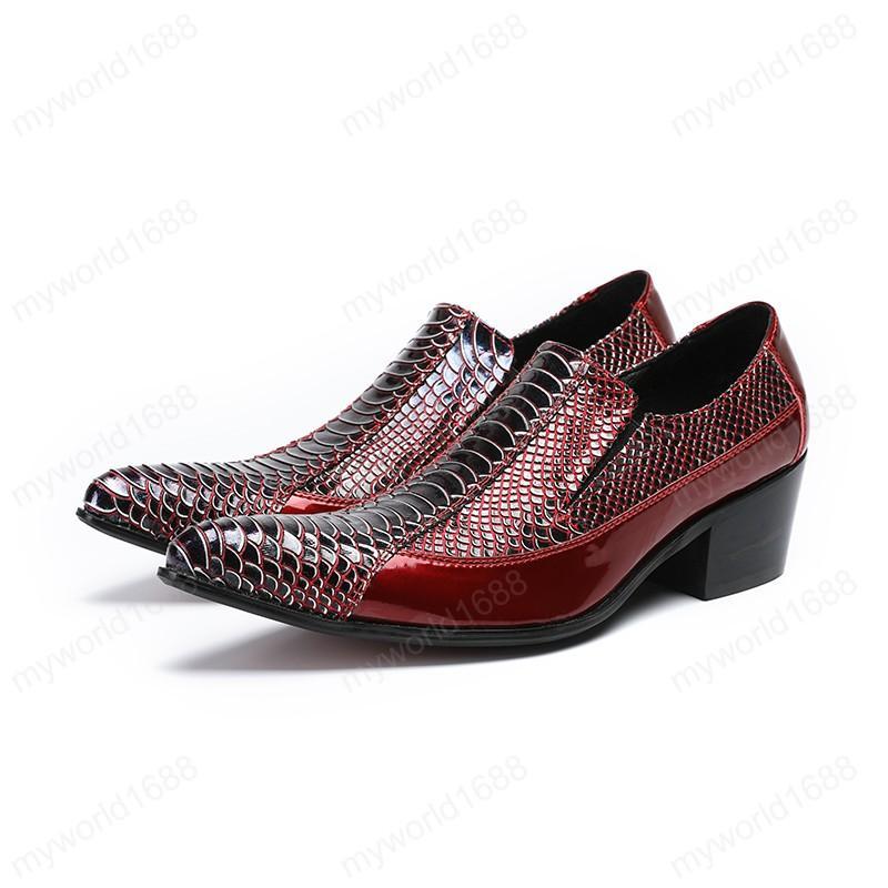 Мода на высоком каблуке натуральная кожа мужская обувь красная змея кожи узор заостренный носок мужские одежды обувь для вечеринки обувь