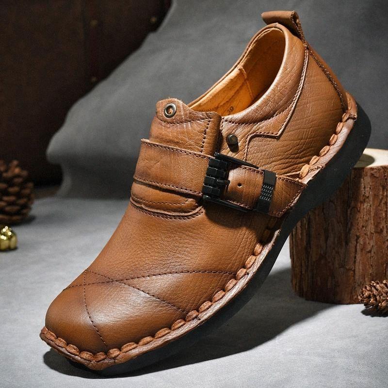 Мужская натуральная кожаная обувь мода головы кожаные мягкие противоскользящие резиновые мокасины обувь мужчина скользят на случайных действиях # UI9K