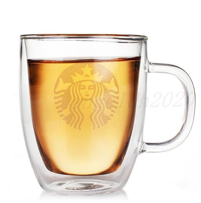 12 oz 16oz Doppelschicht Starbucks Gläser 8 Arten mit und ohne Deckel Doppelschicht Kaffeetasse Becher Kostenloser Versand
