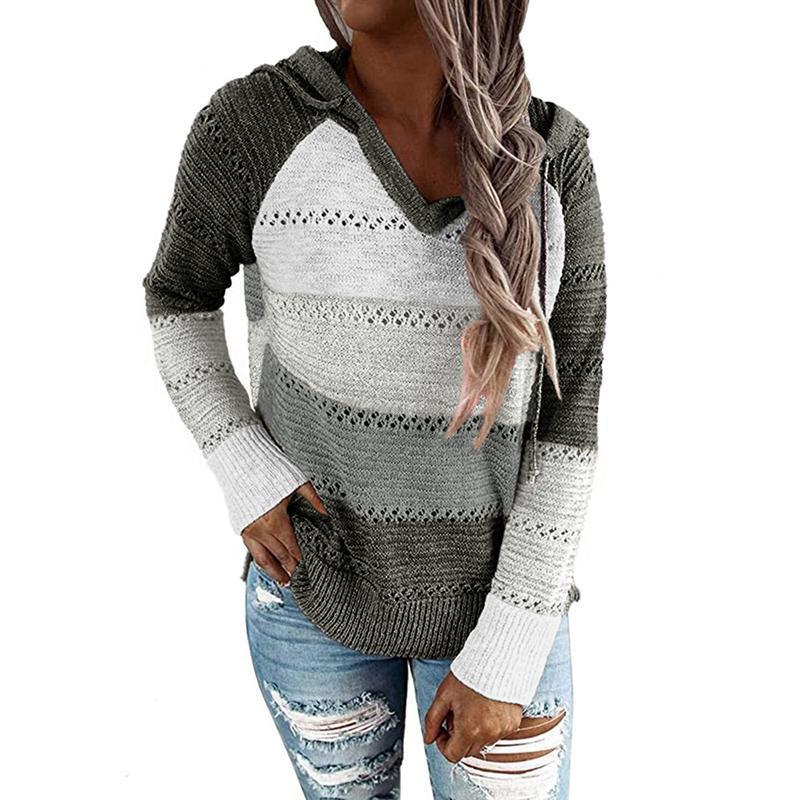 2020 autunno primavera maglioni da donna maglioni patchwork pullover con cappuccio femmina vintage con scollo a V maglia casual maglioni plus size ladies top