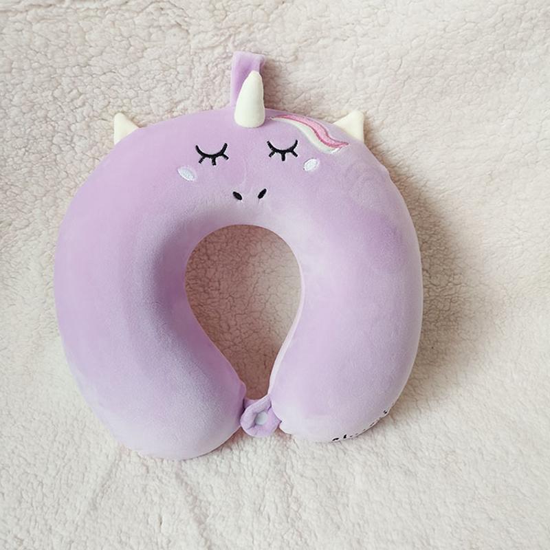 새로운 도착 유니콘 목 레프트 베개 만화 귀여운 유니콘 U 자형 메모리 폼 베개 장난감 선물 높은 품질