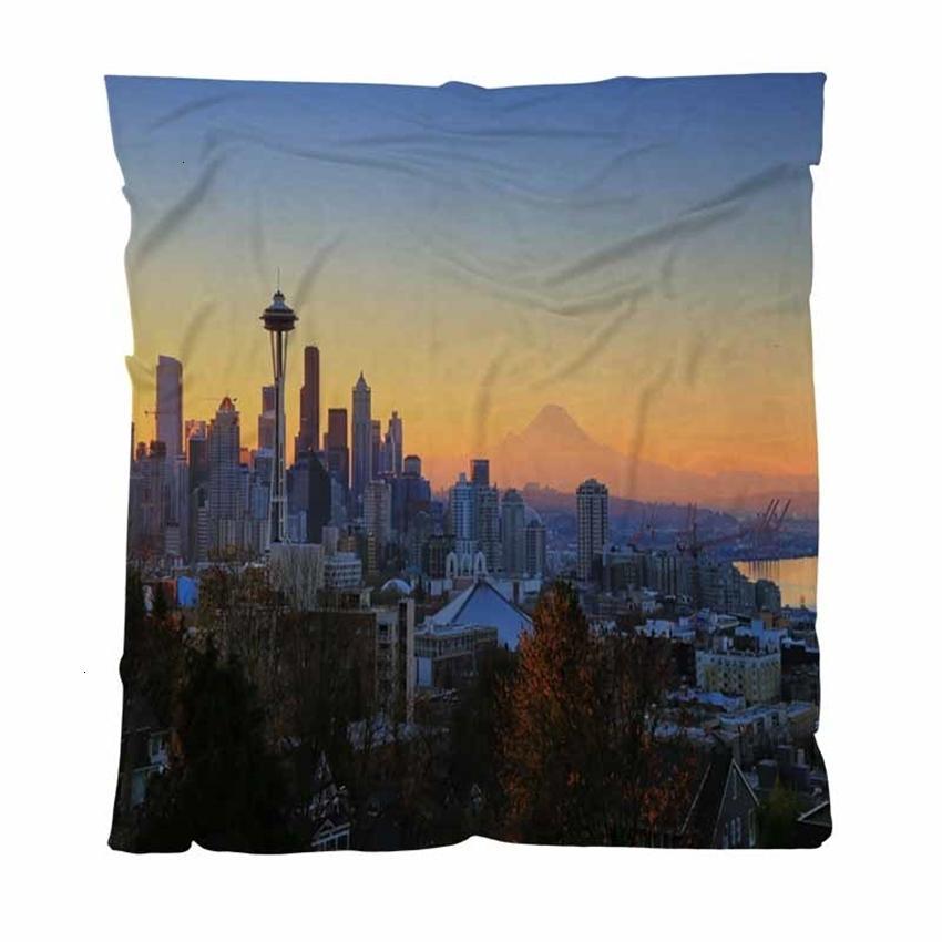Impressão de cobertores personalizados de outono Colorido Flanela Digital, Manhã Full Outono em Seattle, Criança Adult Blanket Air Conditi