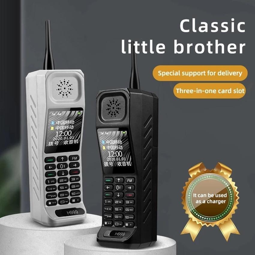 Luxus Classic Mini Retro Schwarz Handy-Lautsprecher Helle Flashligh Powerbank Dial Schnelle Magie Dual Sim-Karten-FM Bluetooth Handy