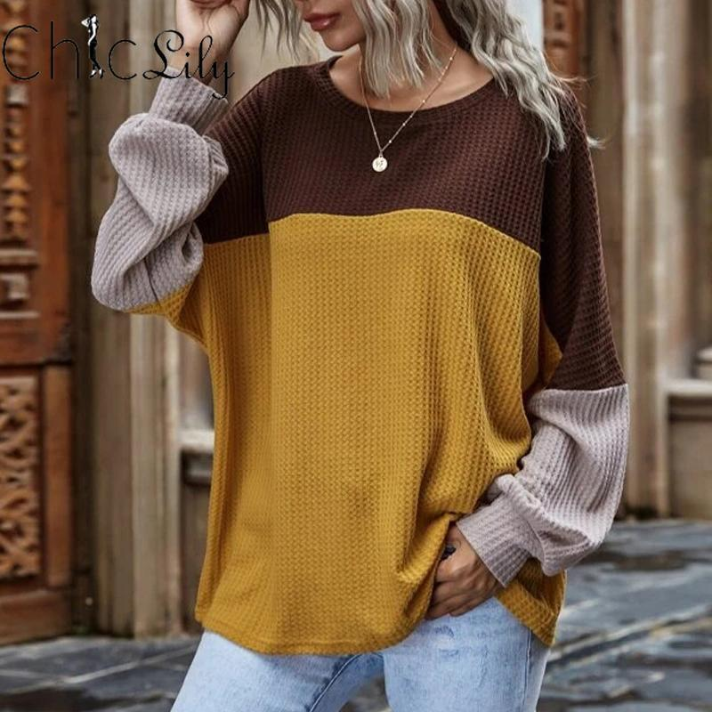 Camisas Blusas para mujer Color de contraste Color de manga larga Casual Top Waffle Blusa Mujer Ropa O-cuello Primavera Camisa de otoño