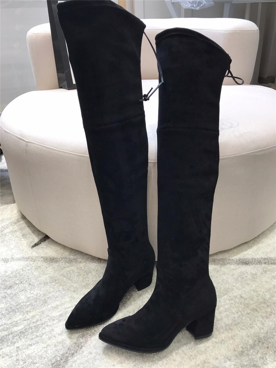2021 Damenmode über den Kniestiefel städtische sexy frauen stiefel schwarze niedrig hohe dicke ferse high heels