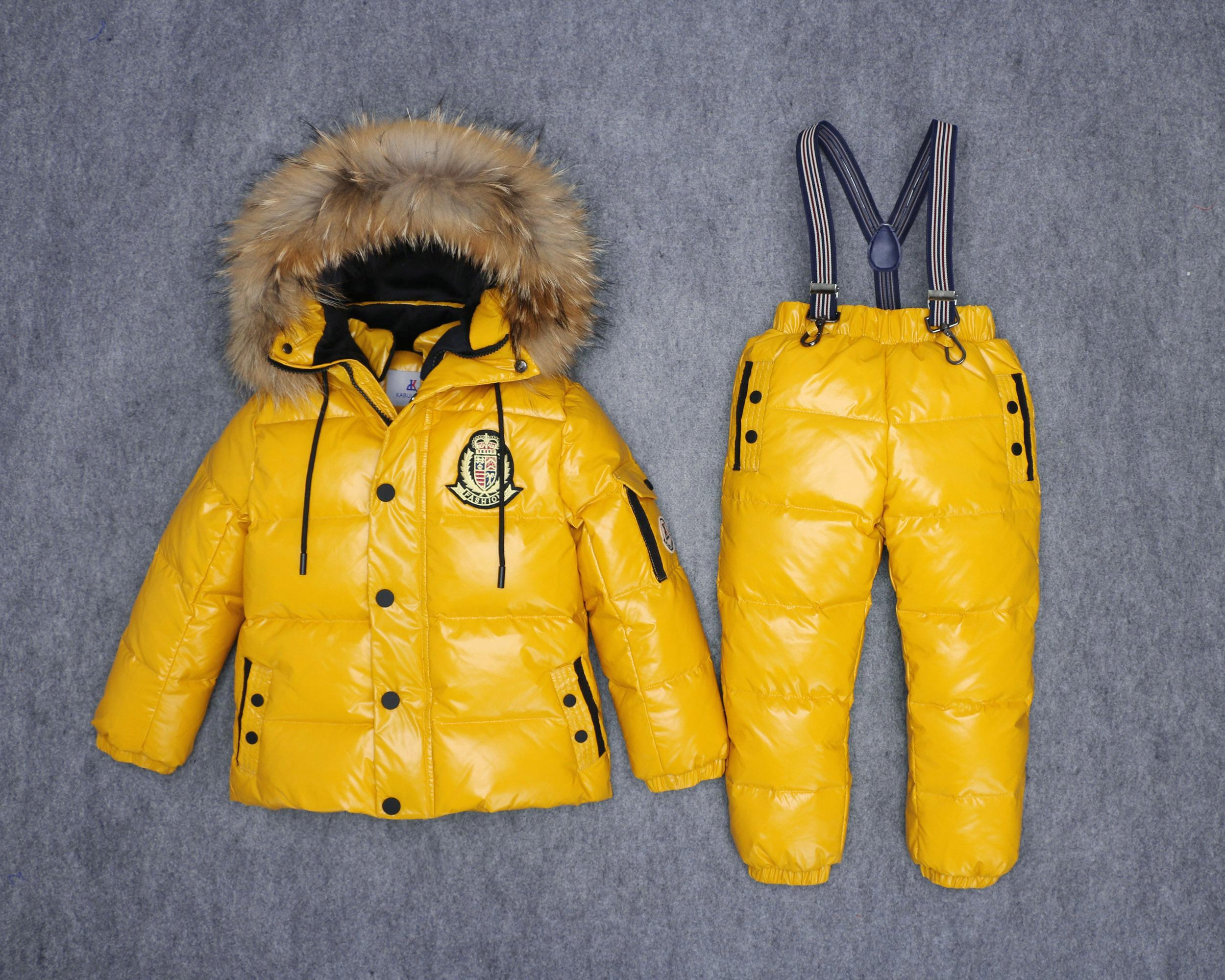 Kinder Skianzug -30 Grad Winter Kinder Schneeuit Duck Daunenjacke für Mädchen Wasserdicht Gesamtmantel Jumpsuit Jungen Warme Oberbekleidung Y1117