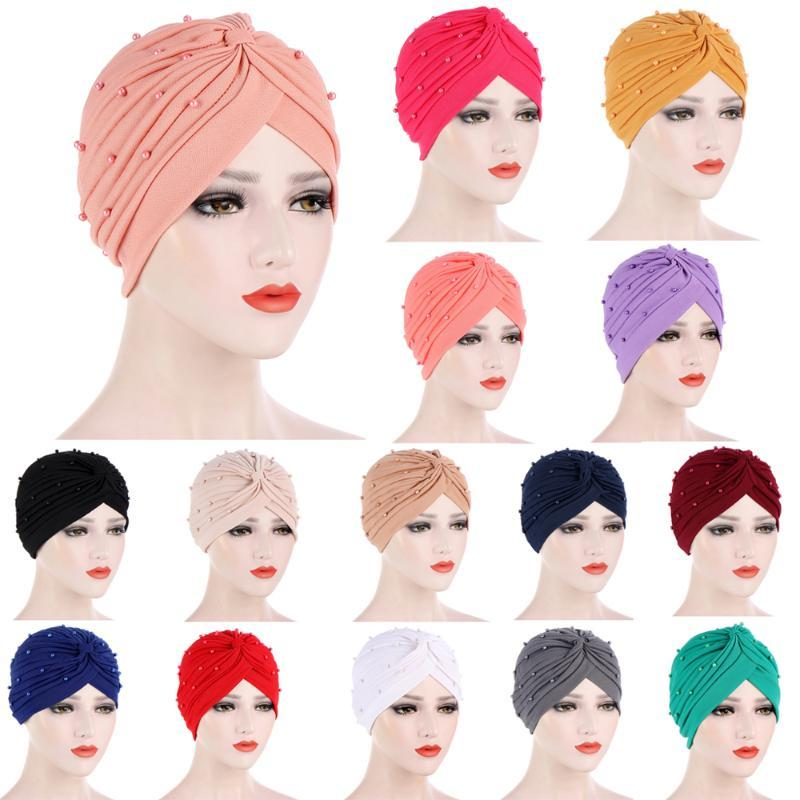 Mulheres Turbante Cancro Beads Underscarf Muslim Muslim Perda de Cabelo Bonnet Chapéu Plissado Islâmico Headwear Envoltório Chemo Caps Gorros