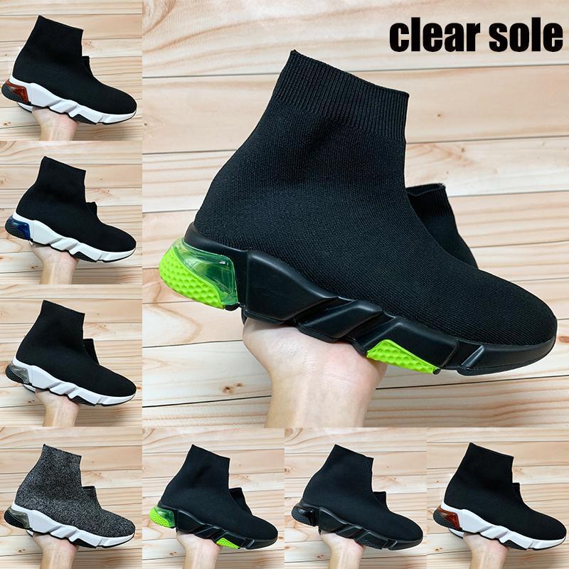 Nuevo entrenador de velocidad parís claras zapatos de suela calcetín amarillo fluo triples hombres oreo negro burdeos manera de las mujeres zapatillas de deporte casuales de EE.UU. 6-11