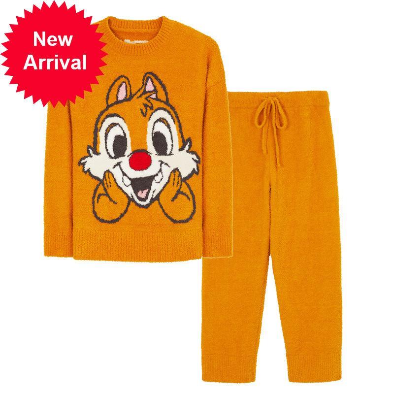 Mimi senhoras pijamas qiu dong manga longa lazer roupa macia lazer macio ternos outono pode ser desgastado da porta em casa