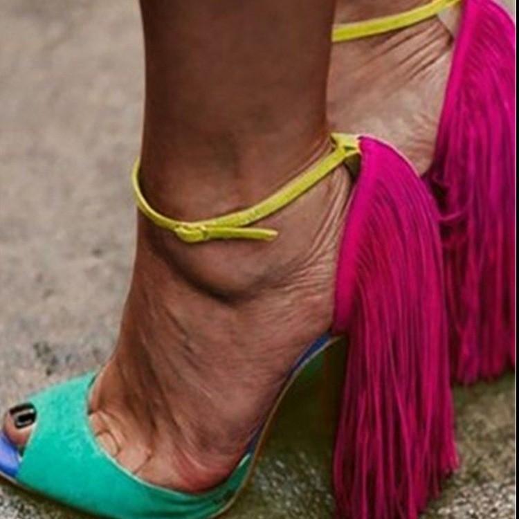 Обувь платье Женская пищевая пальца ноги на бахроте 10 см высокий каблук красная лодыжка пряжка большого размера для партийных сандалий женские сандалии де-мухеер