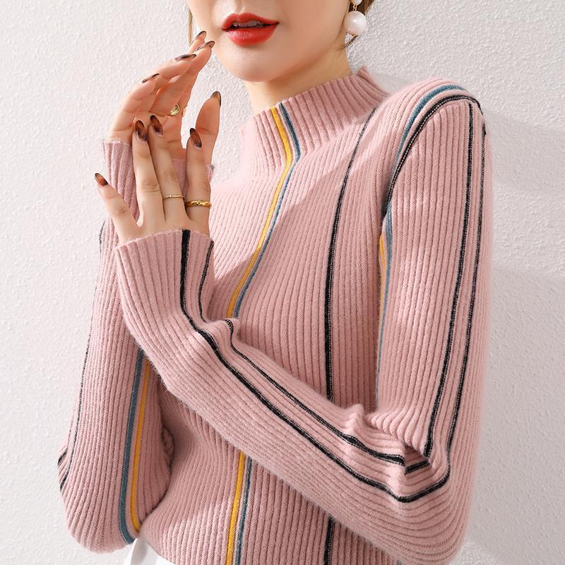 Женские свитера Элегантные женщины осень / зимний пуловер короткий полосатый свитер Slim All-Match High шеи растягивающиеся рубашку