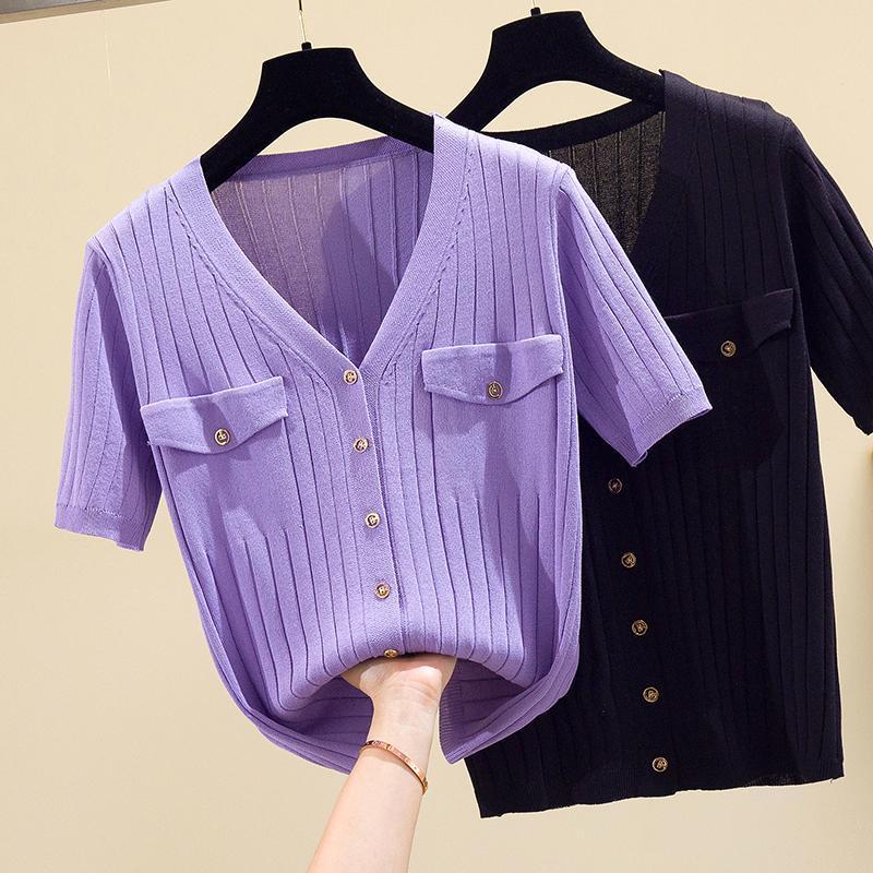 Плюс размер 4xL вязаные кардиган женщины V-образным вырезом с коротким рукавом свитер женщины модис фиолетовый черные вершины