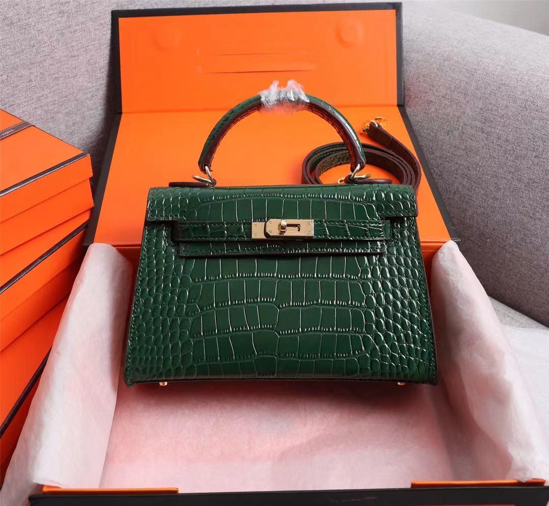 Frauen Luxurys Designer-Taschen Klassische Designer Handtaschen Luxus Krokodil Leder Damen Messenger Bag Pure Farbe Mode Schulter Rucksack