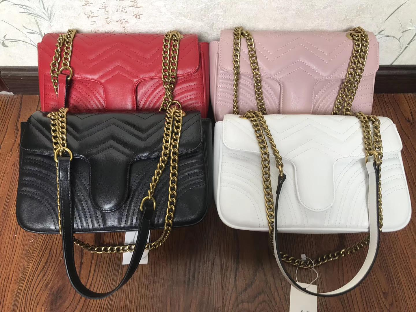 Top Quality 5Colors Famoso Brand Brand Donne Designer Borsa a tracolla in pelle Borsa a catena in pelle Cross Body Pure Color Womens Borsa Crossbody Borsa A244