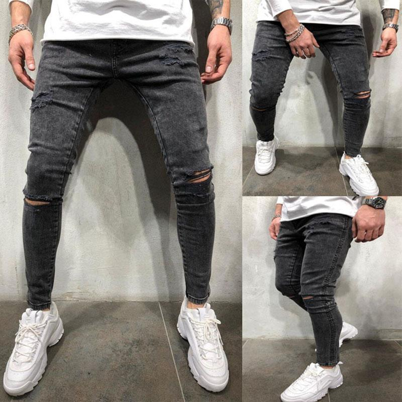Ens أزياء سستة جينز كلية الأولاد نحيل مستقيم سحاب الدينيم السراويل دمرت ممزق الجينز أسود حجم S-3XL