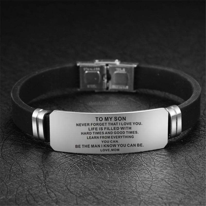 Inglés Inicio Inmofijo de la identificación de la identificación de los brazaletes a mi hijo amor mamá pulsera pulsera brazalete brazalete de joyería de moda y regalo de arena