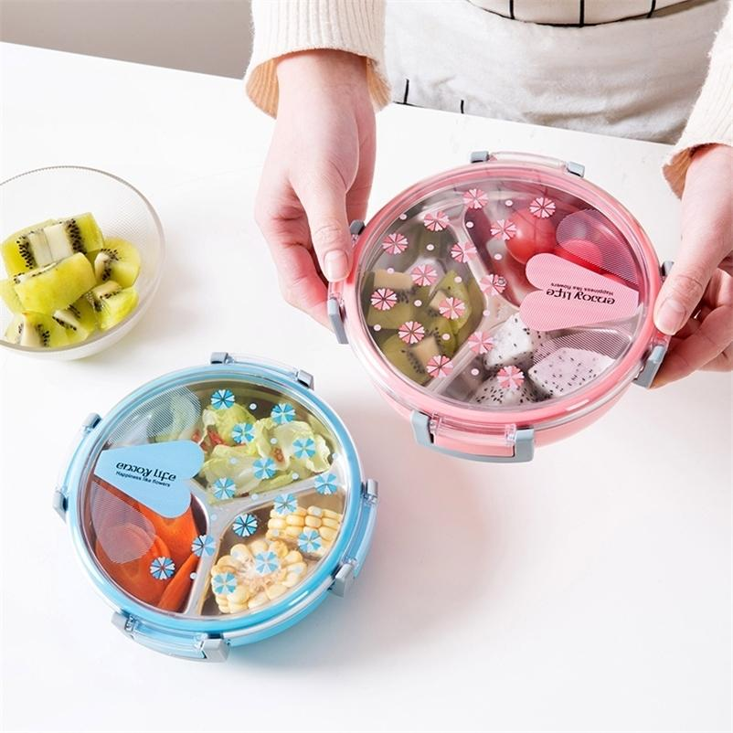 Baispo portátil lancheira de plástico saudável Recipiente de alimentos de aço inoxidável para escola piquenique alimento fruta 3 grades recipiente de alimentos 201015