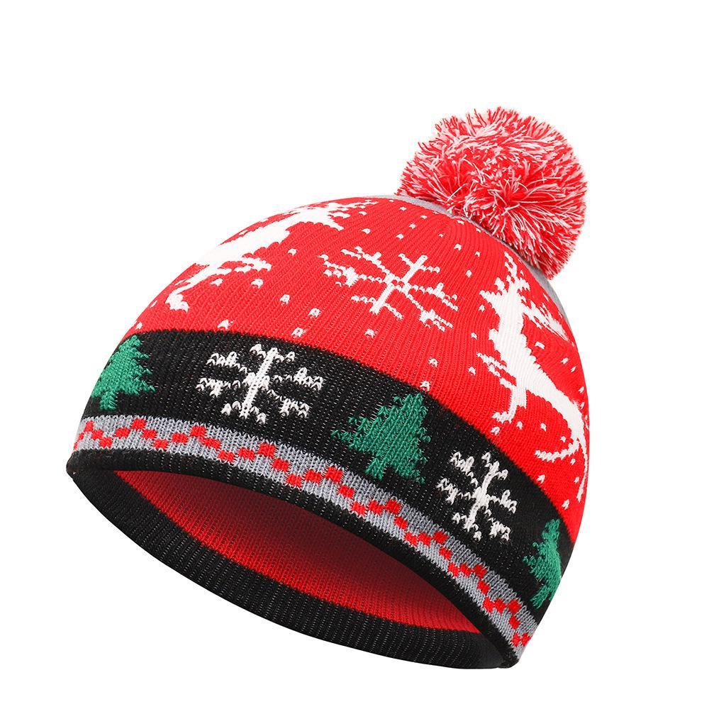 2020 Yeni Sonbahar Kış Örme Karikatür Çocuk Erkekler Ve Kadınlar Noel Ağacı Kardan Adam Kürk Ball Şapka