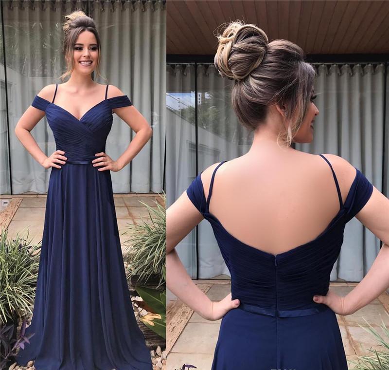 Bon marché Nouveau plus grande taille bleu marine bleu marine bleu une ligne robe de soirée robes de mousseline de soie plisses de robe de soirée de soirée vestine vestidos robes