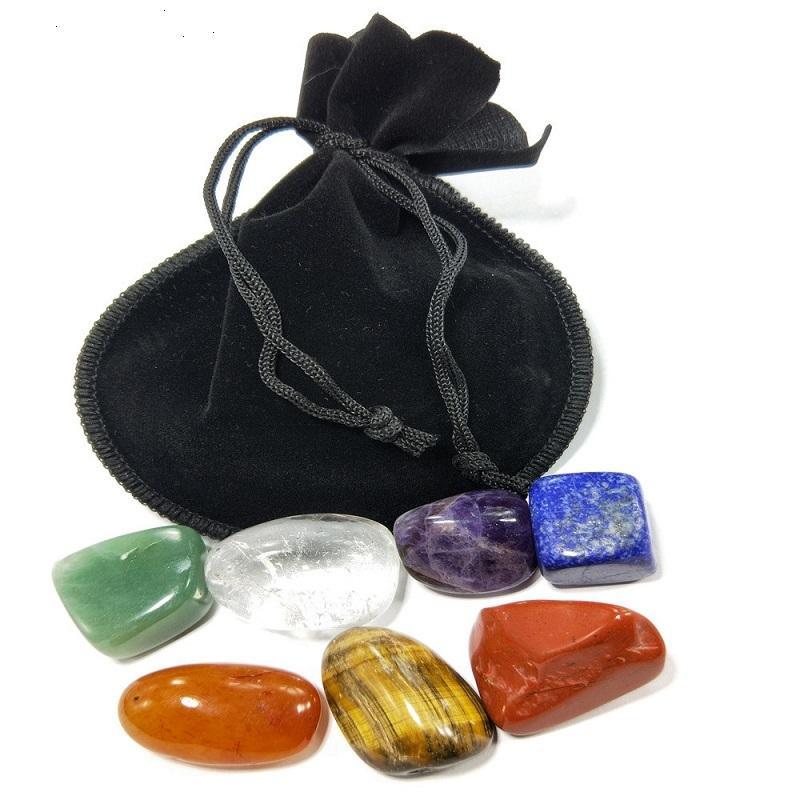 10set Natural Cristal Chakra Stone 7pcs Ensemble de pierres naturelles Palme Reiki Cristaux Cristaux Gemstones Accueil Décoration Accessoires AHD3159