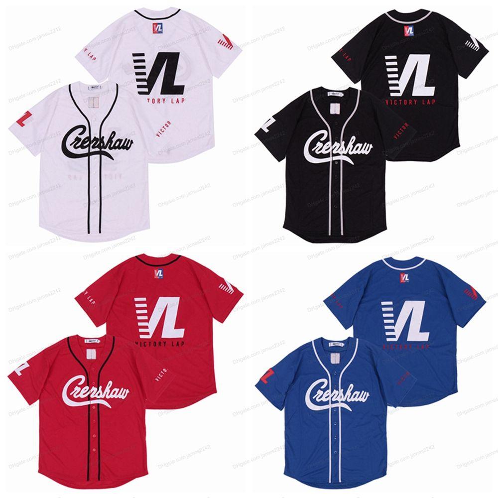 Billig Großhandel Nipsey Husse Crenshaw Victory Runde Baseball Trikots Hip Hop Rap Herren Genäht Weiß Blau Schwarz Rot Jersey Freies Verschiffen