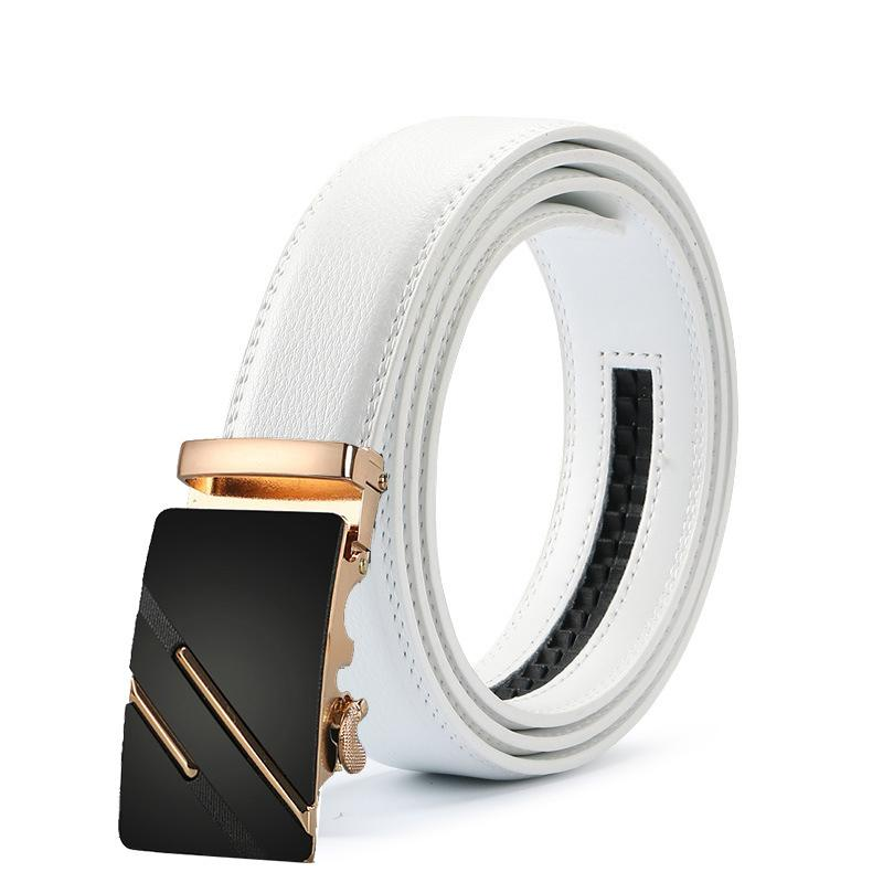 Novo Designer Branco Cintos Brancos para Luxo Moda Genuíno Cinto de Couro de Alta Qualidade Metal Fivela Automática Cinta Homens
