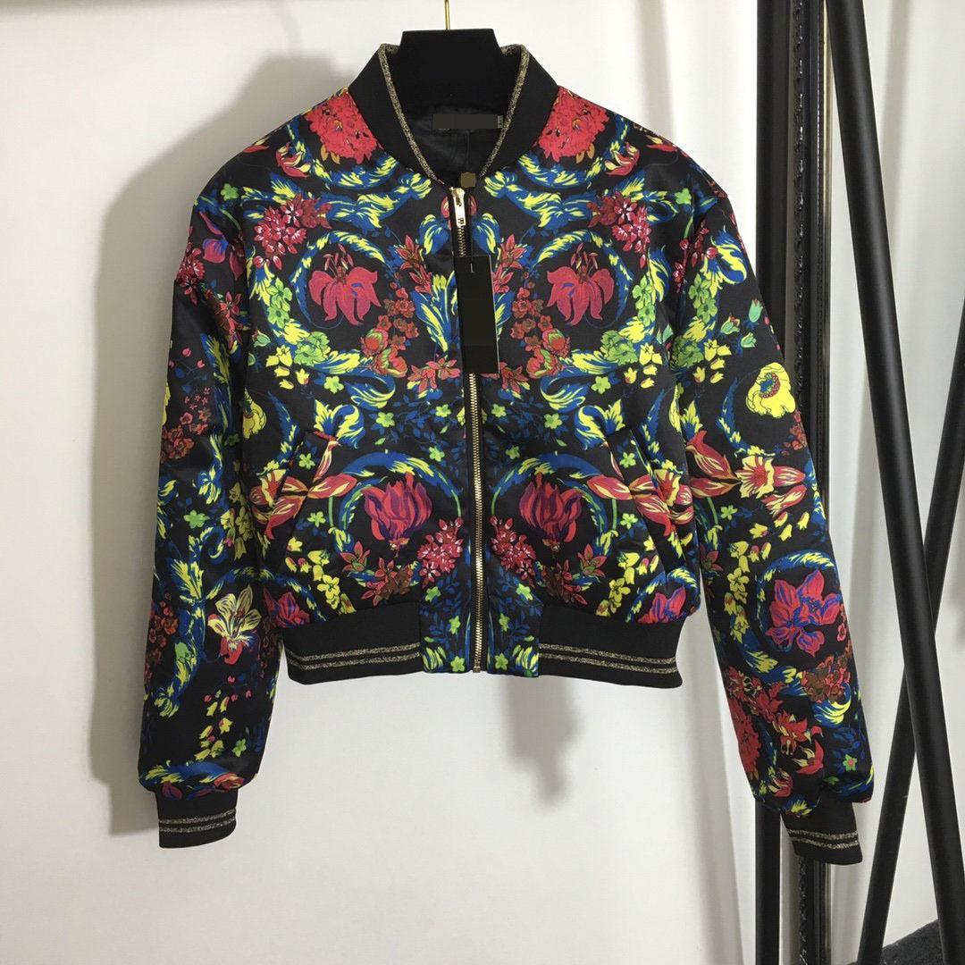 1112 2020 Бесплатная доставка осенью линия длинные рукава черепаха шеи мода пальто молния мода мода флора печать панель бренда та же стиль фалула