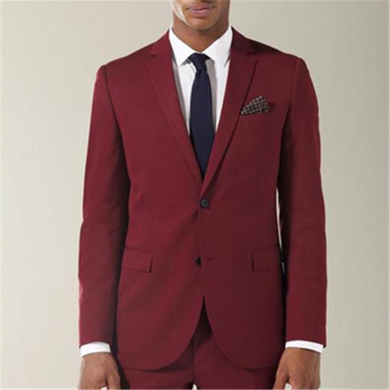 Men's Suits & Blazers Custom Made Wine Red Groom Mens 2 Pieces(Jacket+Pants+Tie) Notch Lapel Wedding Bridegroom Tuxedos Blazer Fashion 185