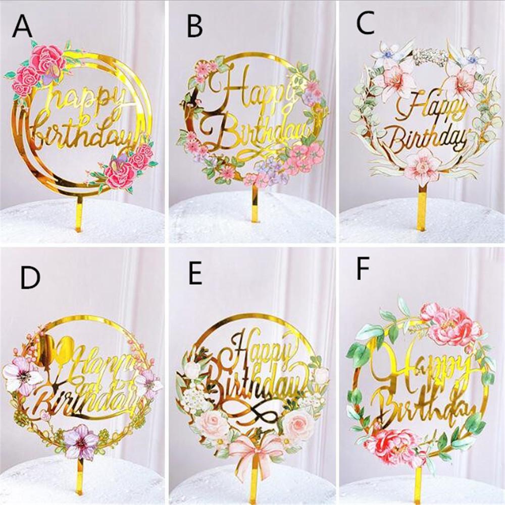 Renkli Çiçekler Mutlu Doğum Günü Pastası Topper Altın Akrilik Doğum Günü Partisi Tatlı Dekorasyon Bebek Duş Pişirme Malzemeleri Için